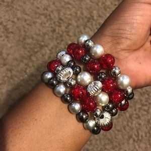 Red,Gray and Gunmetal Bracelets stack